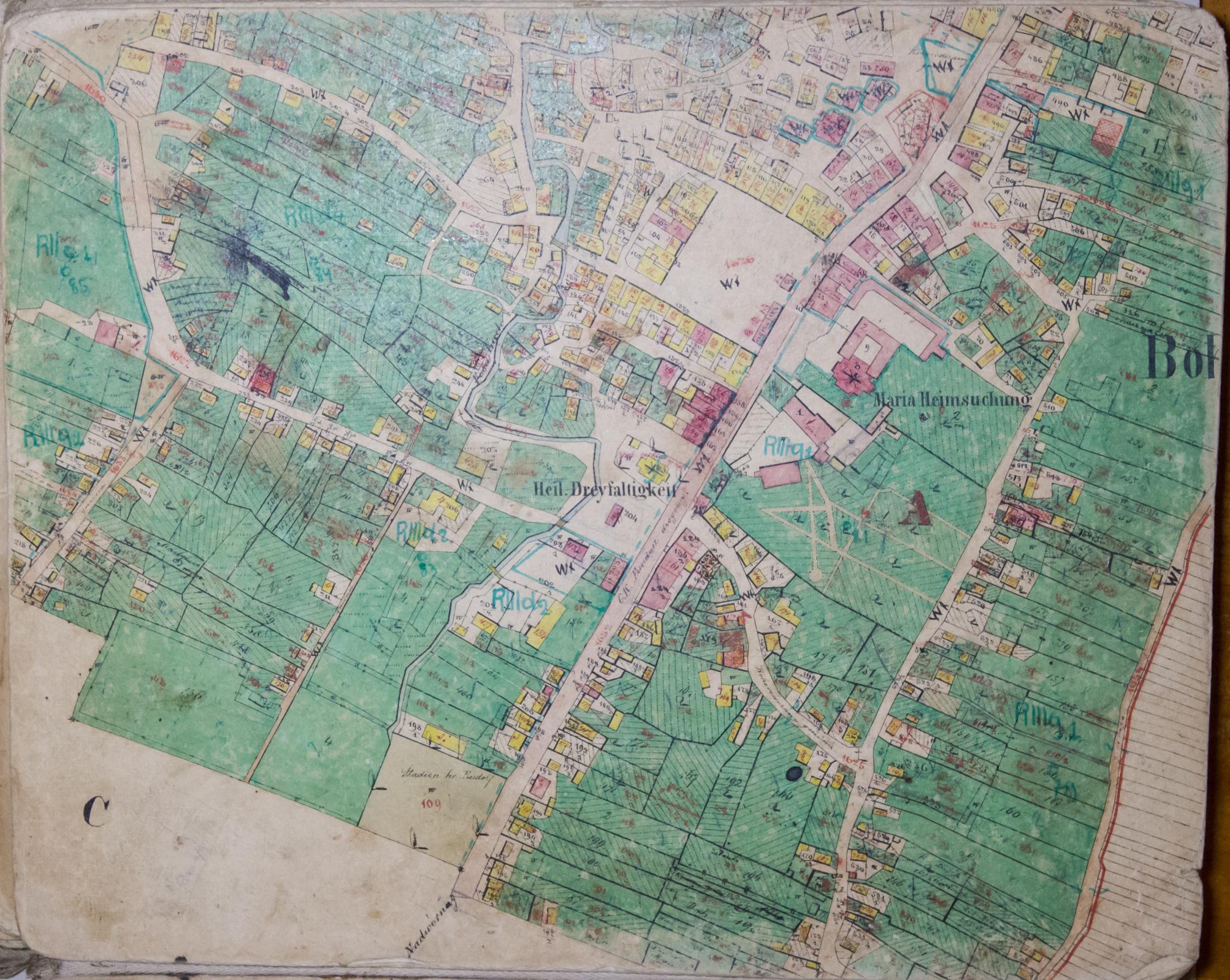 1878 Cadastral Map Of Bohorodchany Ivano Frankivsk Region Ukraine Courtesy Of Lviv