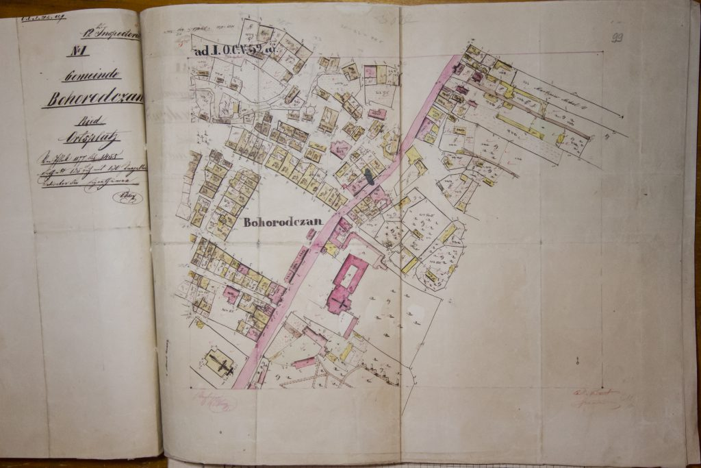 1848 Cadastral map of Bohorodchany, Ivano-Frankivsk region, Ukraine. Courtesy of Lviv Historical Archive.